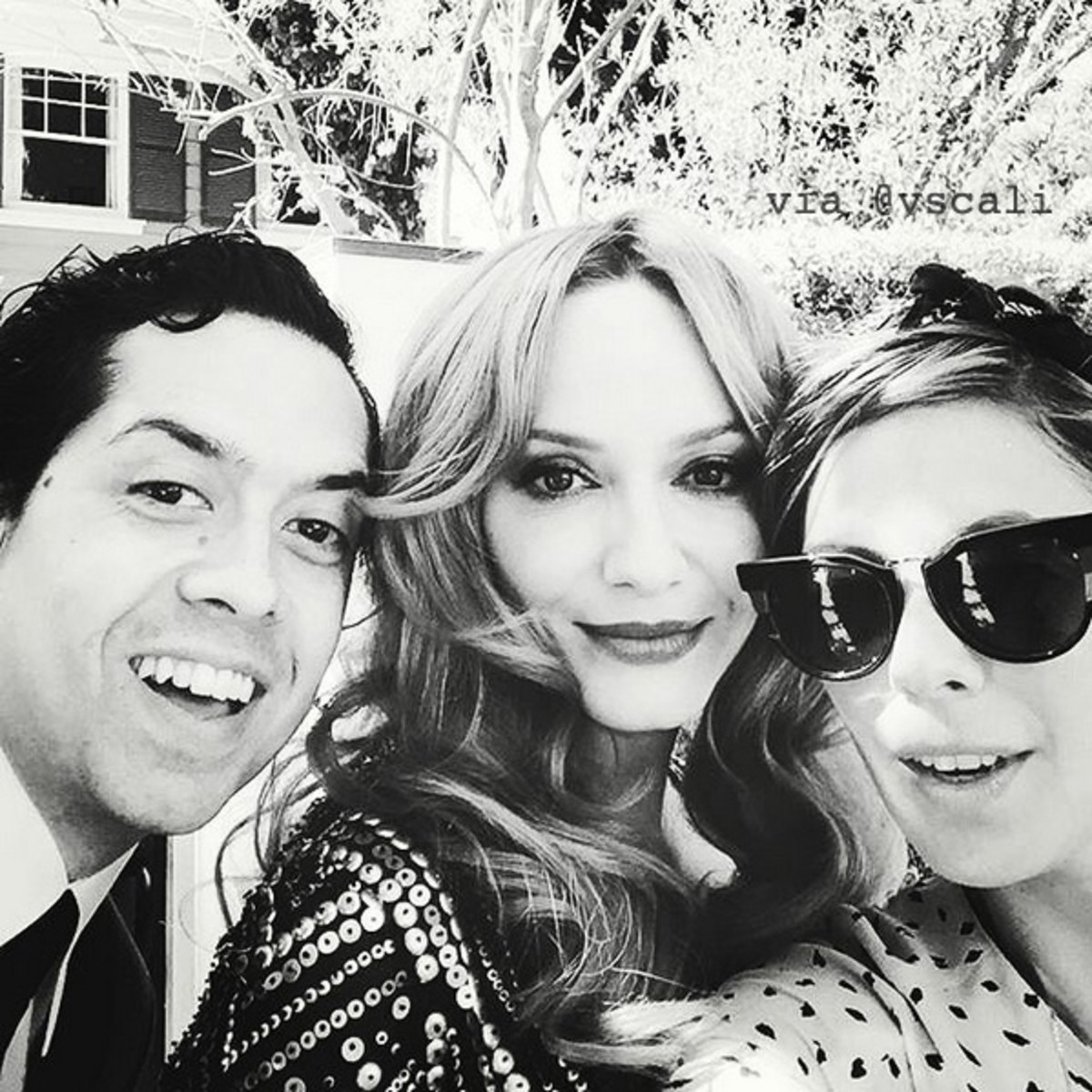 Mad Men star Christina Hendricks with husband Geoffrey Arend and makeup pro Vanessa Scali