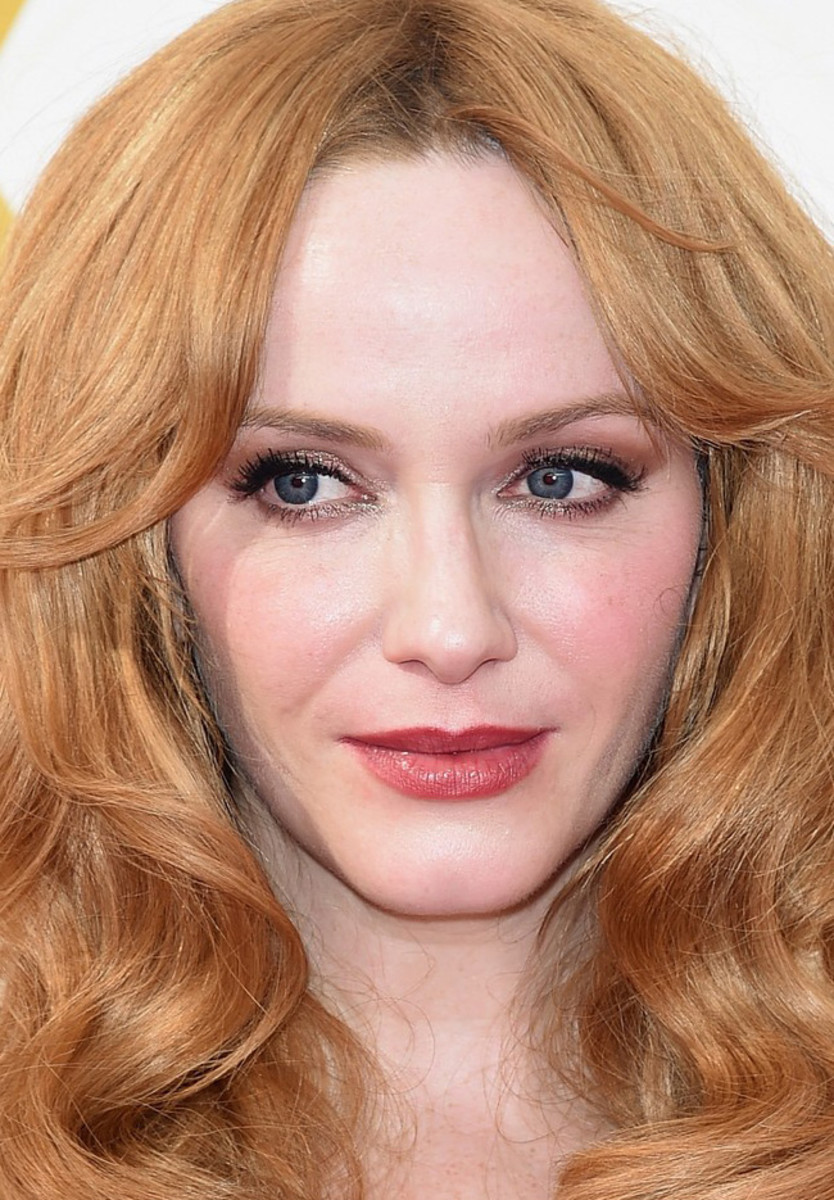 Christina Hendricks: love those shimmery lids and flushed cheeks. Makeup by Vanessa Scali for Sephora Collection.