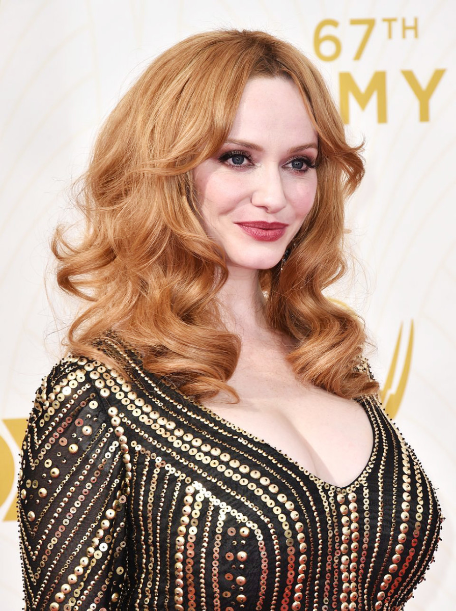 Christina Hendricks on the 2015 Emmy Awards red carpet in Los Angeles this past Sunday