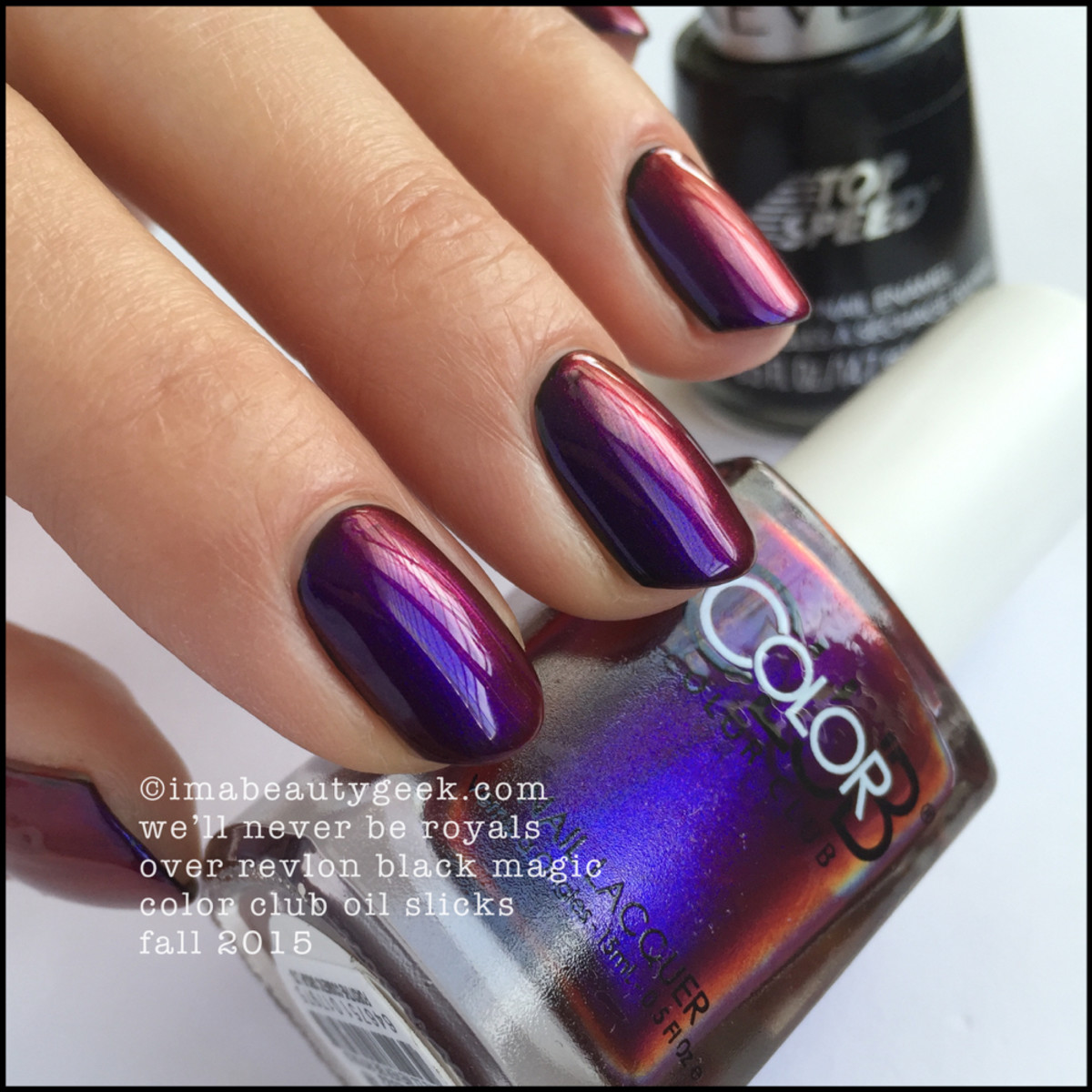 Color Club Oil Slicks Collection_Color Club Well Never Be Royals over Black_6