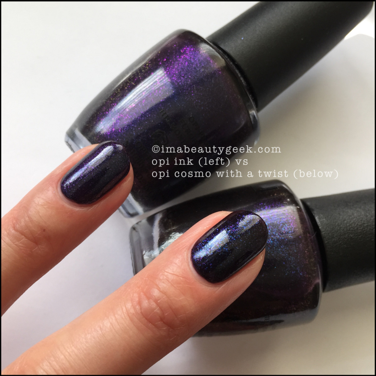 OPI Cosmo With a Twist Comparison OPI INK_OPI Starlight Swatches Beautygeeks