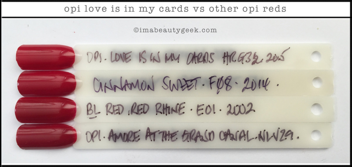OPI Love is In My Cards Comparison Swatches Starlight 2015 Holiday