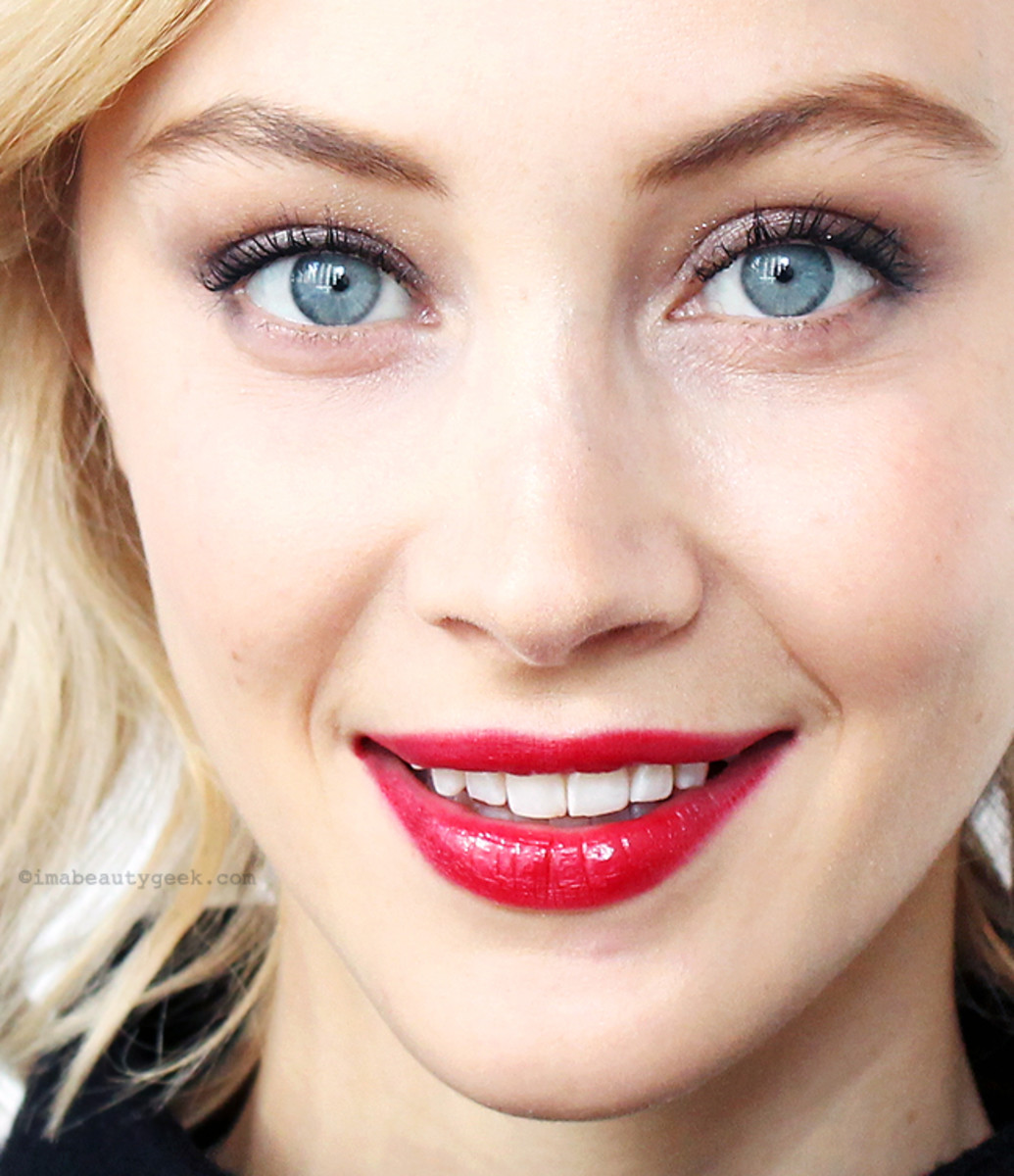Extreme closeup: Sarah Gadon in Toronto at The Four Seasons hotel, October 2015. Makeup by Cedric Jolivet for Giorgio Armani Beauty.