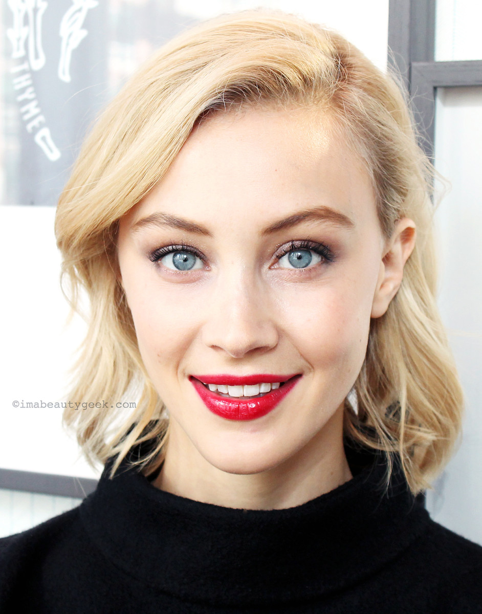 Sarah Gadon, the face of Armani, in shades from the Luxe is More palette plus Ecstacy Lacquer #400
