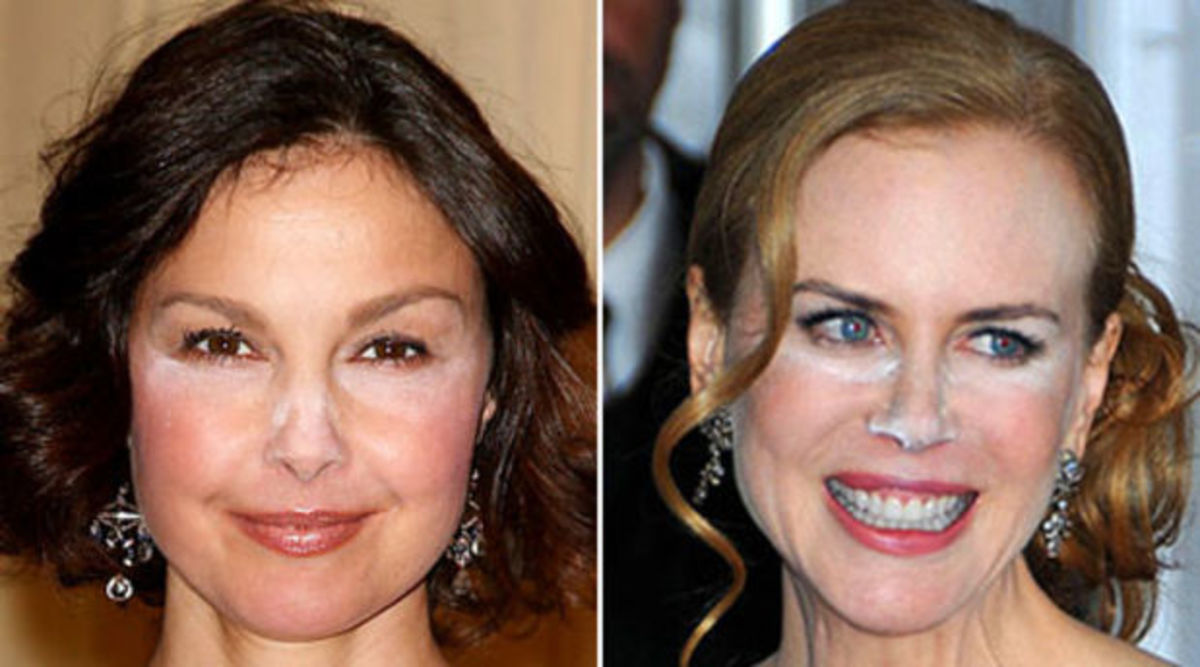 Ashley Judd and Nicole Kidman: white powder faces