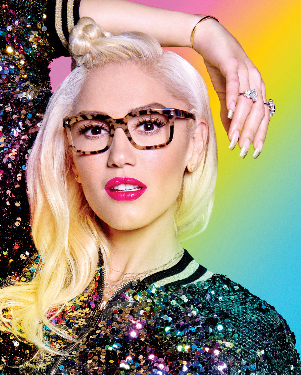 Gwen Stefani's L.A.M.B. Eyewear with Tura – makeup by Gregory Arlt.