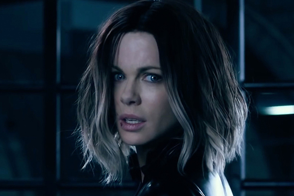Kate Beckinsale as Selene in Underworld: Blood Wars. Makeup by Chase Aston.