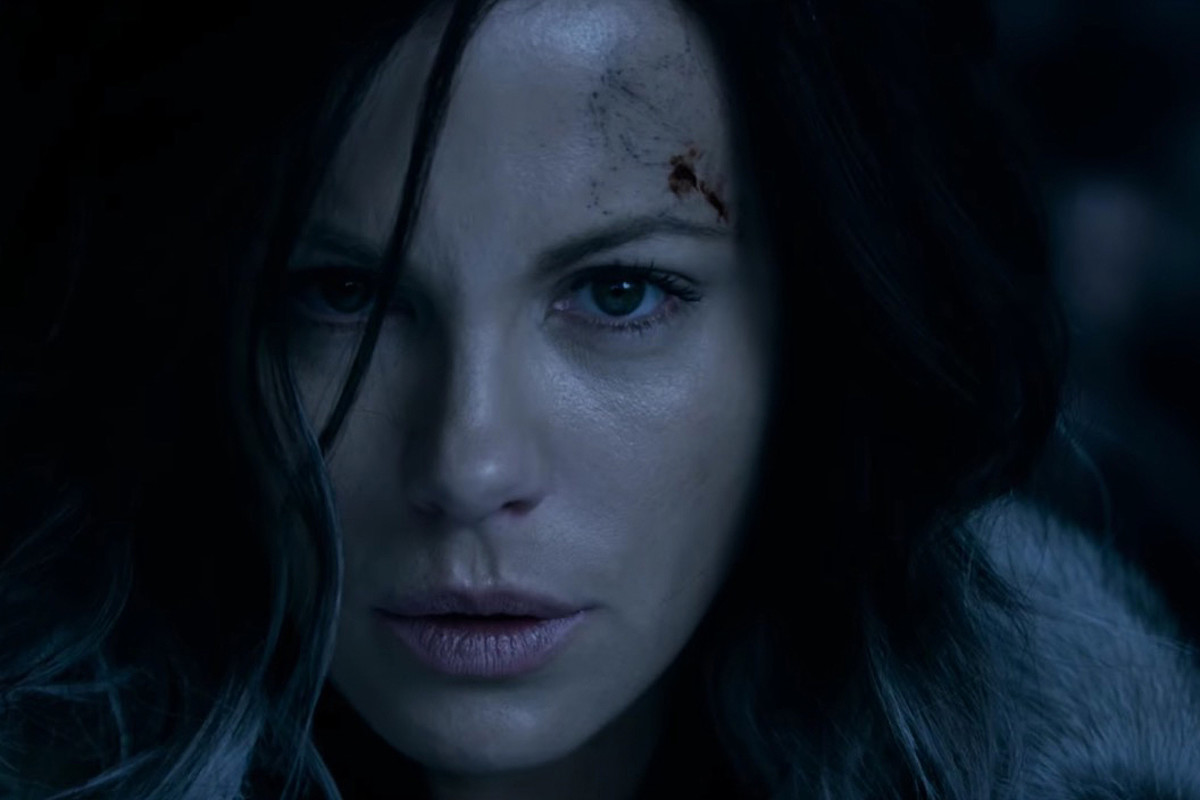 Kate Beckinsale as Selene in Underworld: Blood Wars. She's wearing Armani Luminous Silk Foundation on her skin, Benefit on her brows, Max Factor on her lashes, and on her lips is Bourjois Paris powder blush in Rose Jaspe. Makeup by Chase Aston.