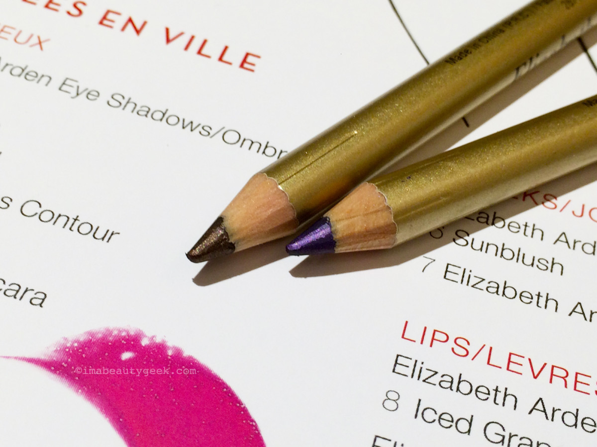 Elizabeth Arden Bright Lights, Big City collection eye pencils in Java (top) and Blackberry