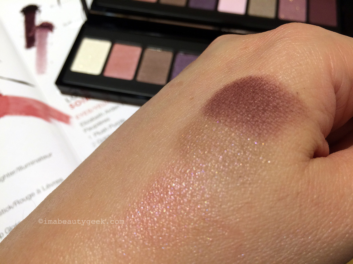 Elizabeth Arden Bright Lights, Big City random eyeshadow shade swatches – nice, silky textures