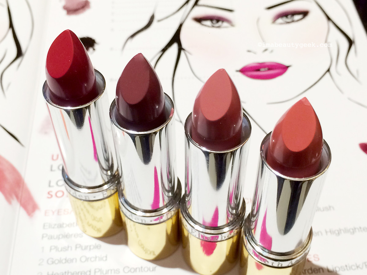 Elizabeth Arden Bright Lights, Big City lipsticks (l-r): Bold Red, Iced Grape, Pink Pucker, Barely There