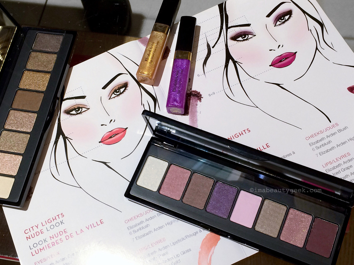 Elizabeth Arden Bright Lights, Big City: those glosses – Glamorous Gold, Intriguing Violet – are sheer.