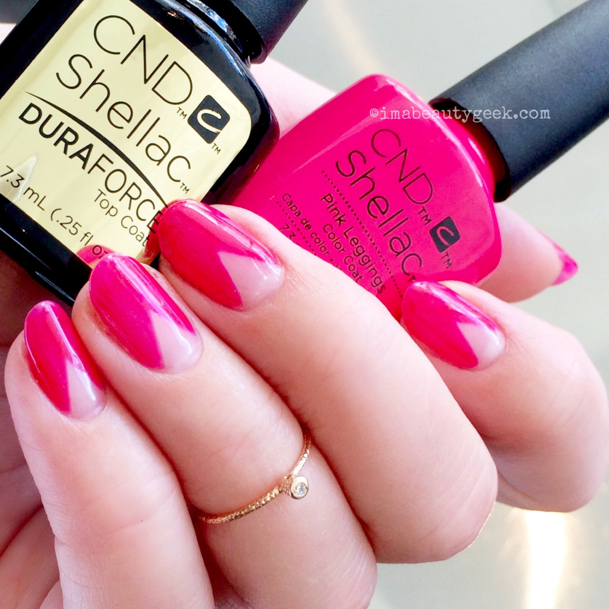 CND Shellac Pink Leggings (Spring 2017 New Wave collection) + Shellac Duraforce Top Coat