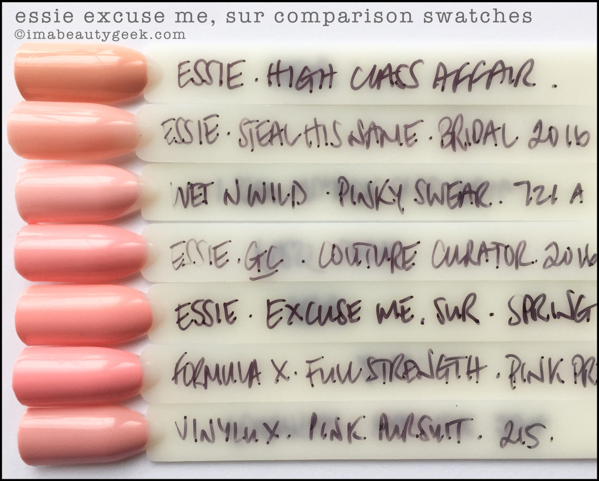 Essie Excuse Me Sur Dupes Comparison Swatches_Essie Spring 2017