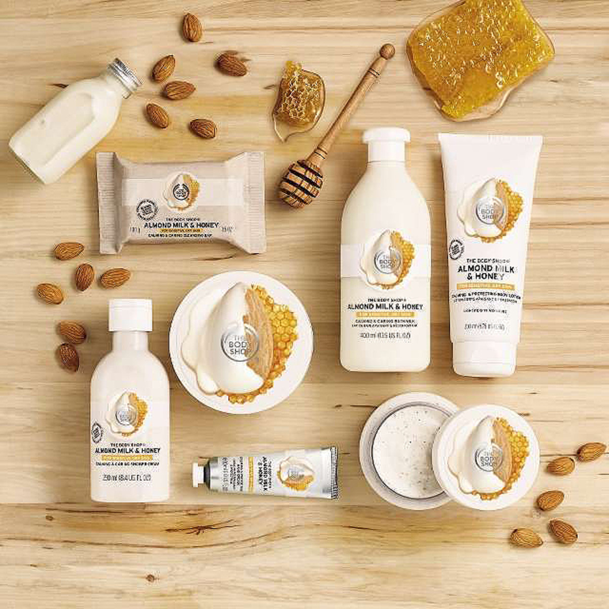 The Body Shop Almond Milk & Honey collection for sensitive, dry skin