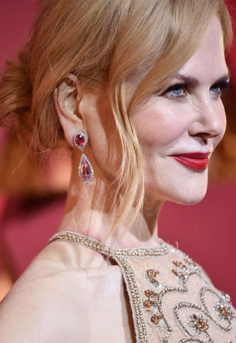 Nicole Kidman's earrings are by Harry Winston – wait, is her neck chafing under that neckline??