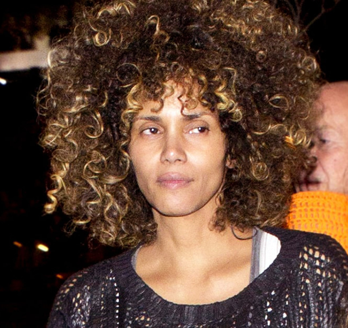 Halle Berry out with friends in January 2017, with rock-star hair and zero makeup.
