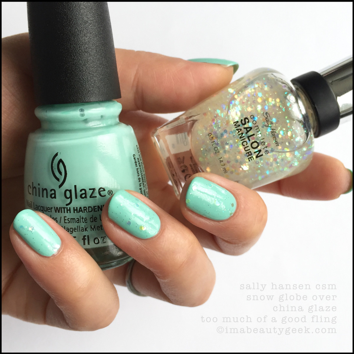Sally Hansen Snow Globe over China Glaze Too Much of a Good Fling