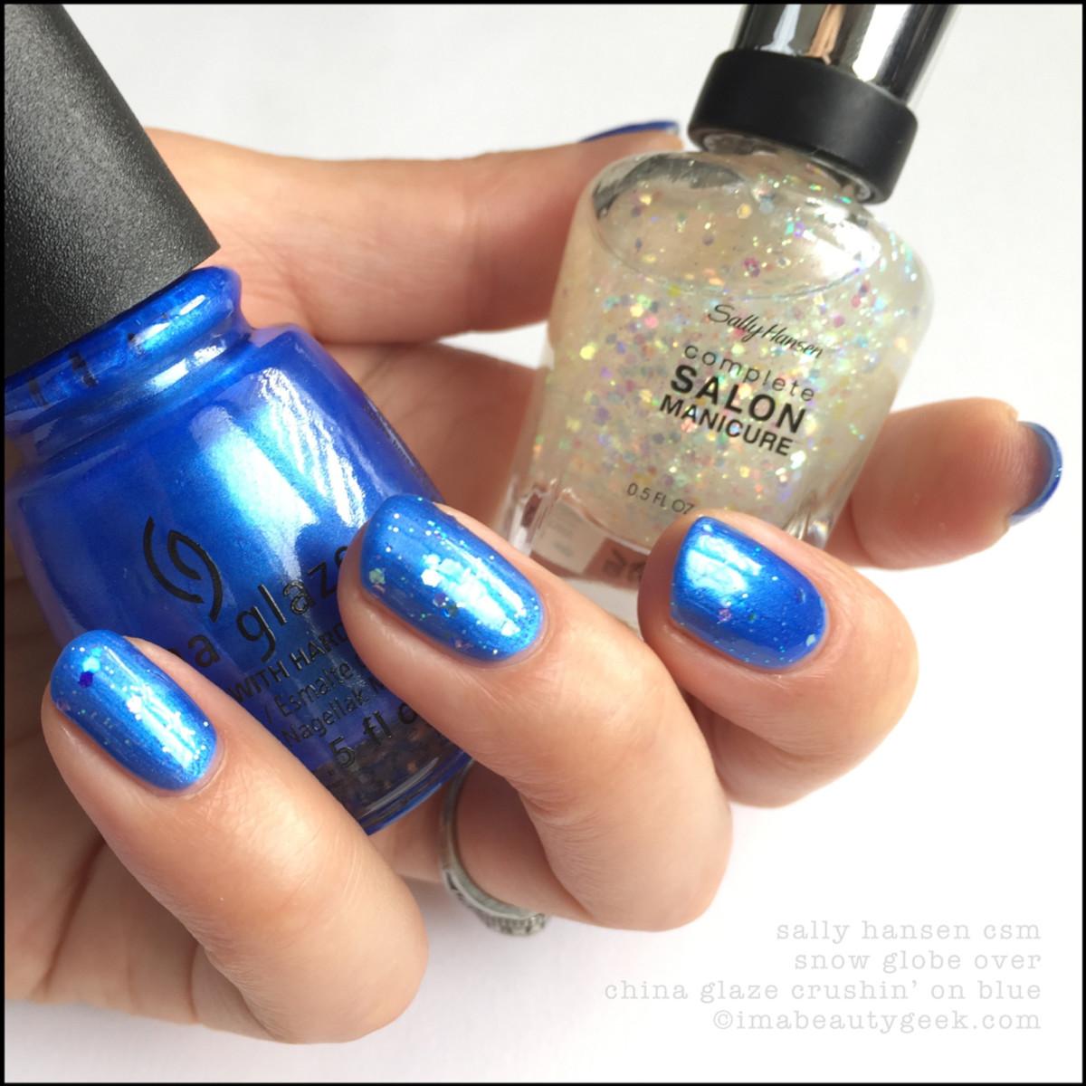 Sally Hansen Snow Globe over China Glaze Crushin' on Blue