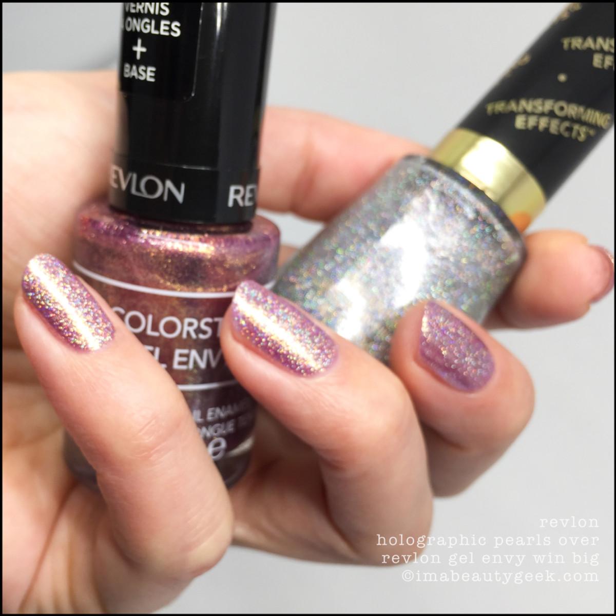 Revlon Holographic Pearls Top Coat over Win Big