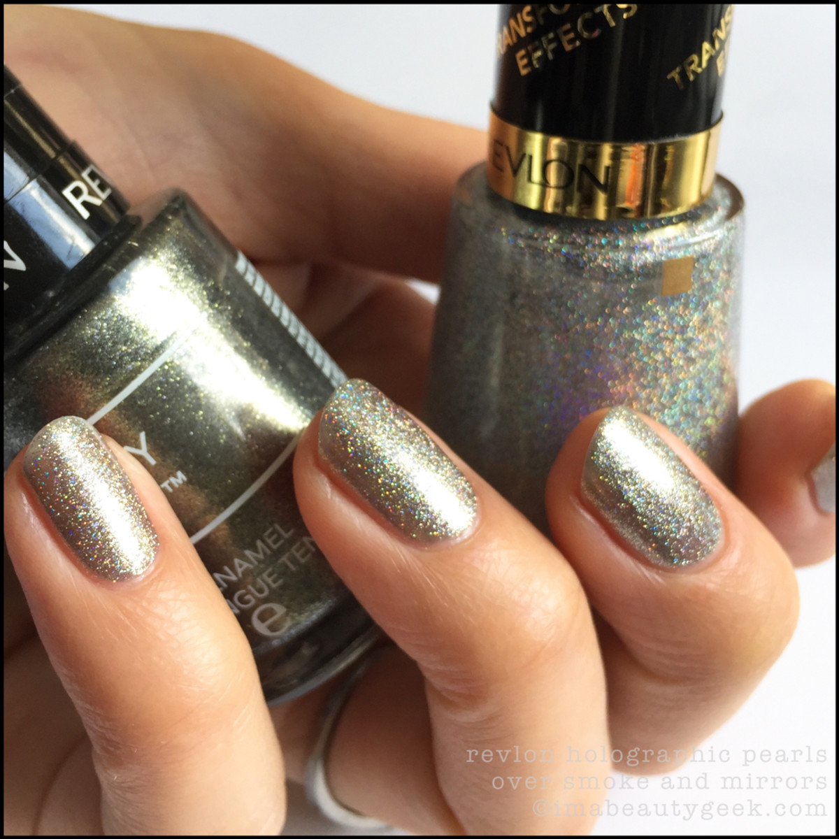Revlon Holographic Pearls Top Coat over Smoke and Mirrors