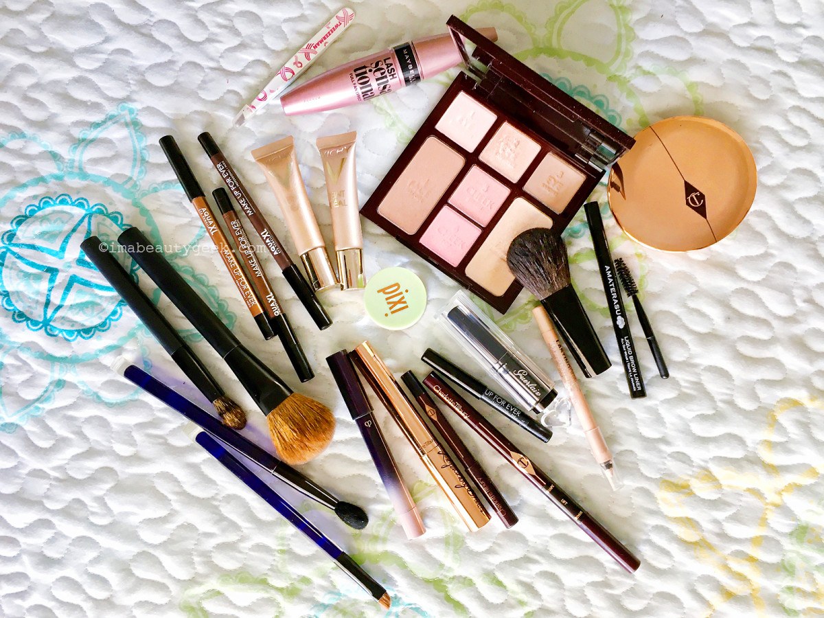 Travel-friendly makeup in my carry-on – why do I have so many pencils?
