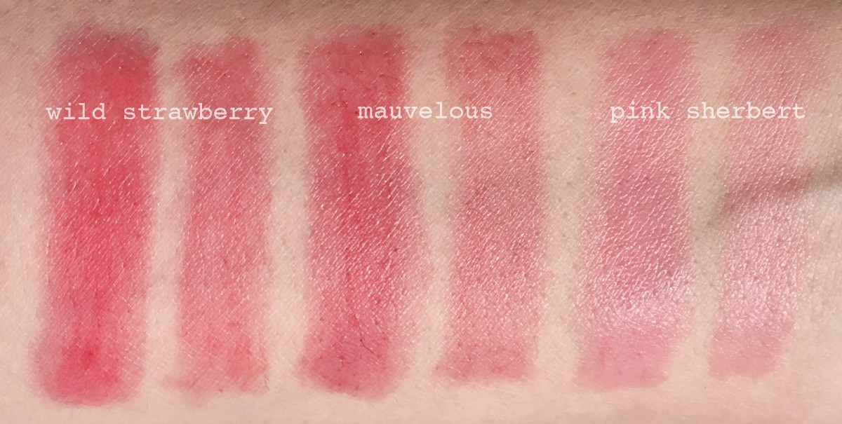 Clinique Crayola Chubby Stick swatches: a lot (left swatch) vs a little (right swatch)