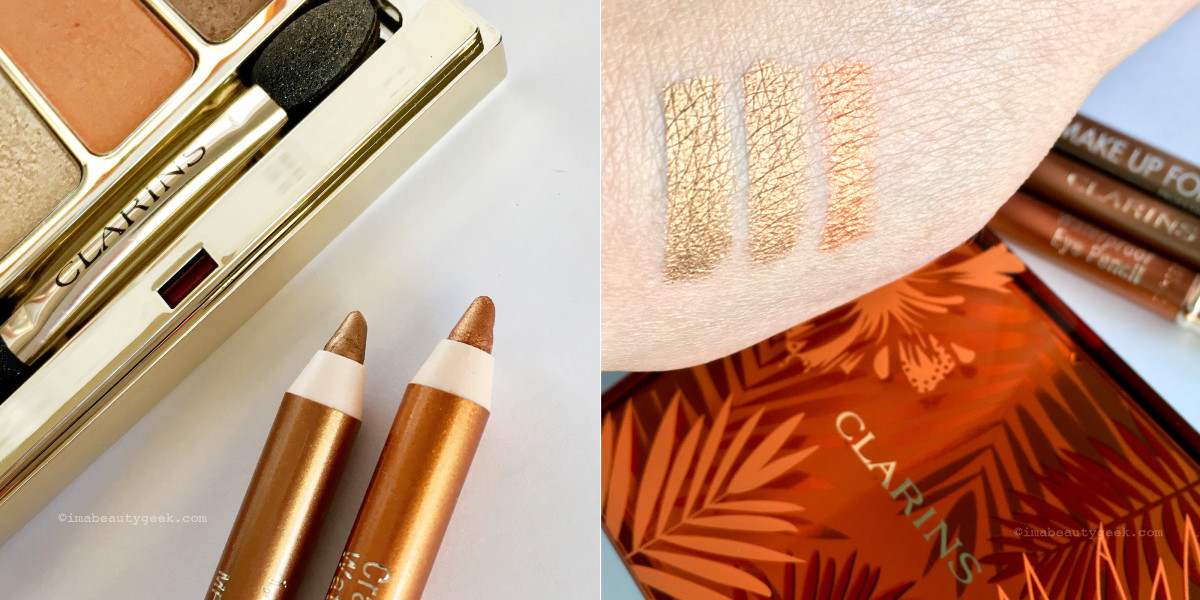 Clarins Summer 2017 waterproof metallic eye pencils in Gold and Copper