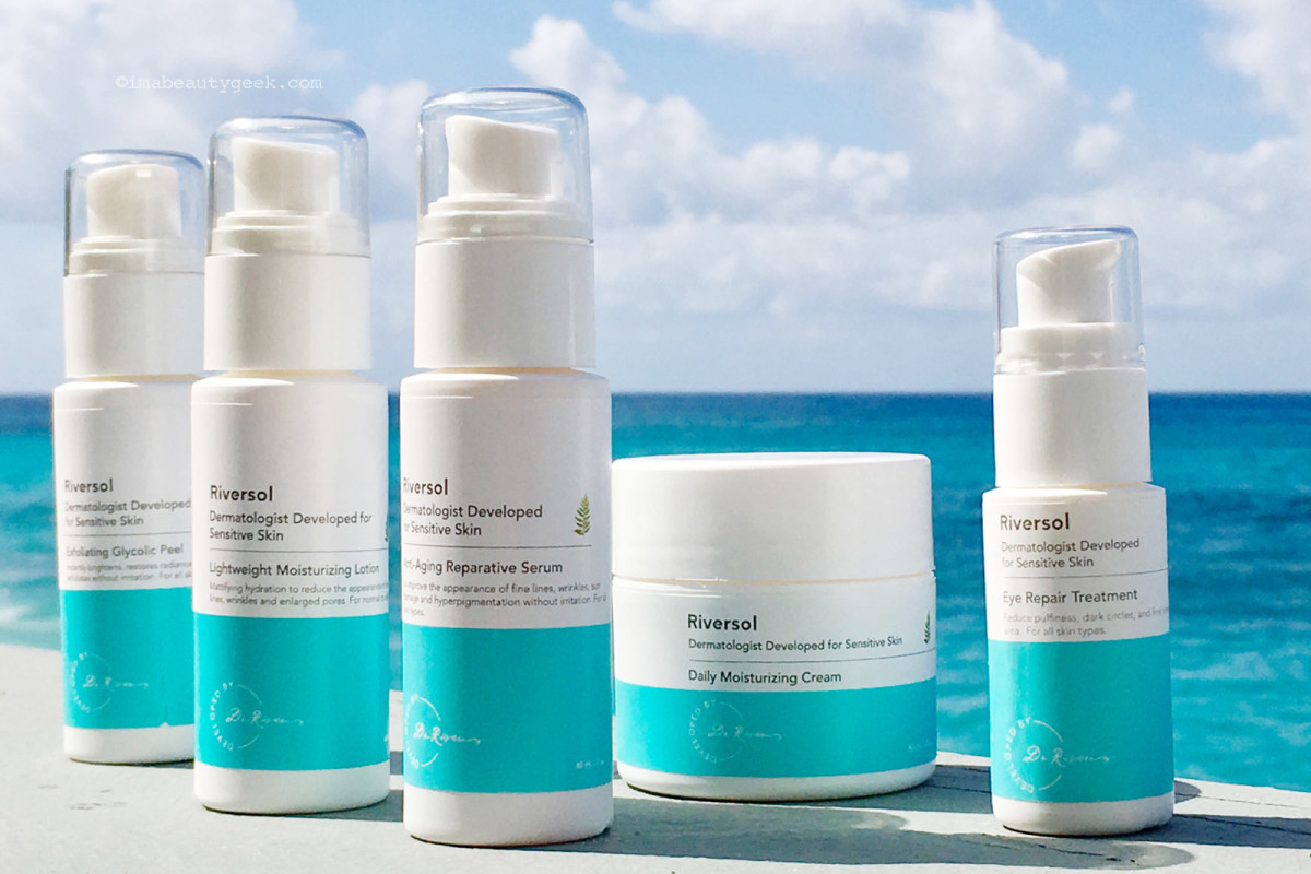 Riversol Skincare for Sensitive Skin: Exfoliating Glycolic Peel, Lightweight Moisturizing Lotion, Anti-Aging Reparative Serum, Daily Moisturizing Cream, Eye Repair Treatment.