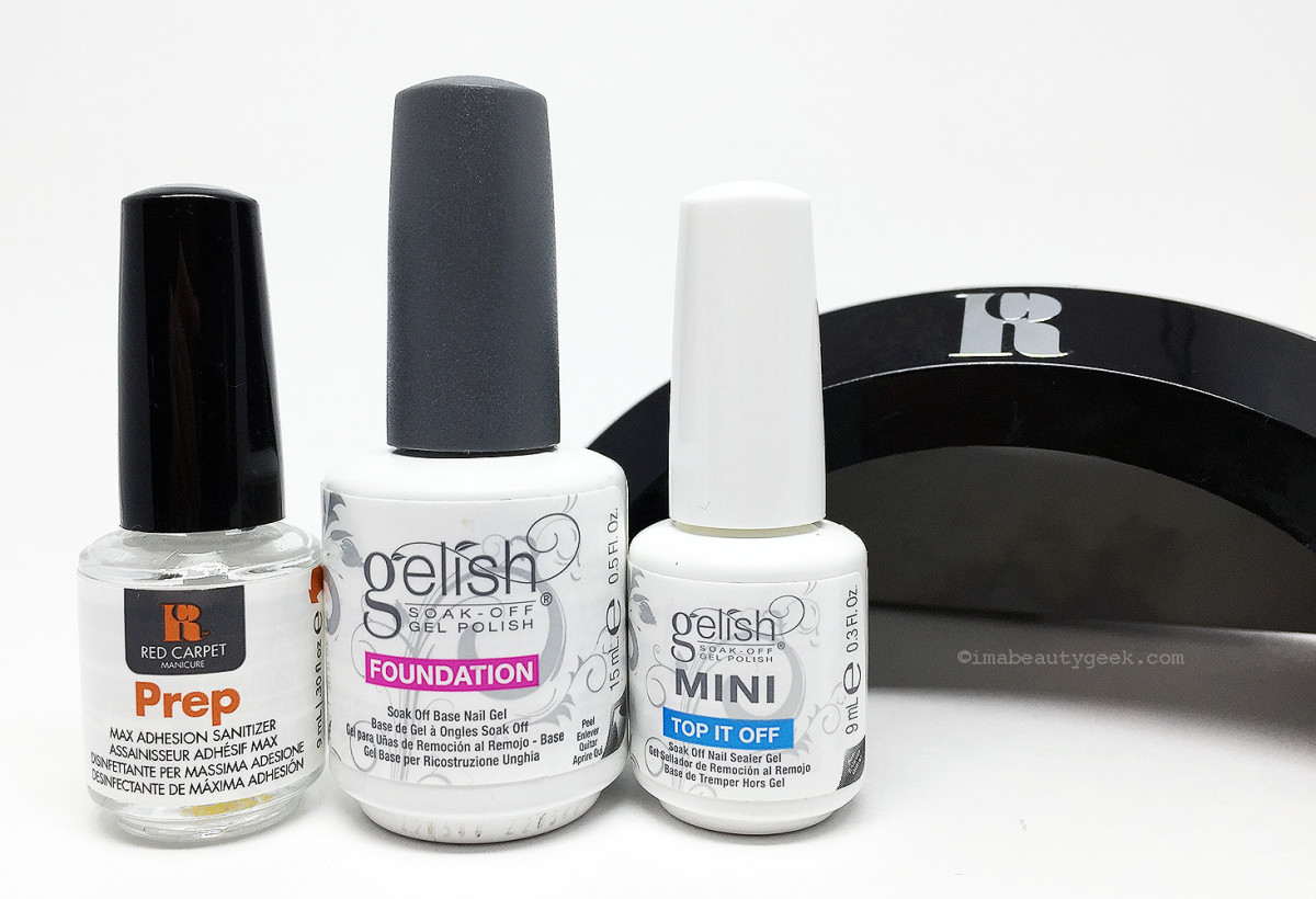 Manigeek's Red Carpet Manicure Prep, Gelish Foundation and Top It Off and Red Carpet Manicure Lamp