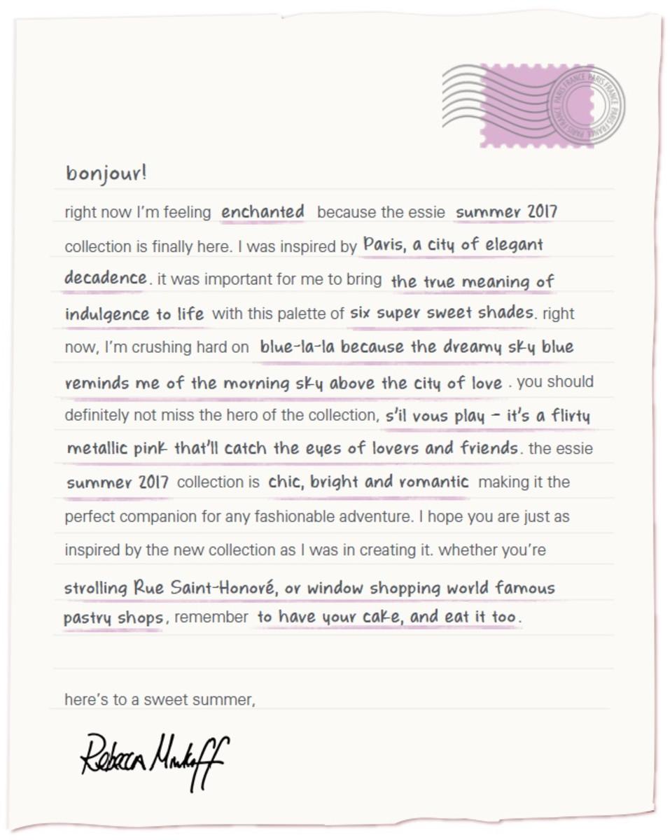 Essie Summer 2017 Rebecca Minkoff Note