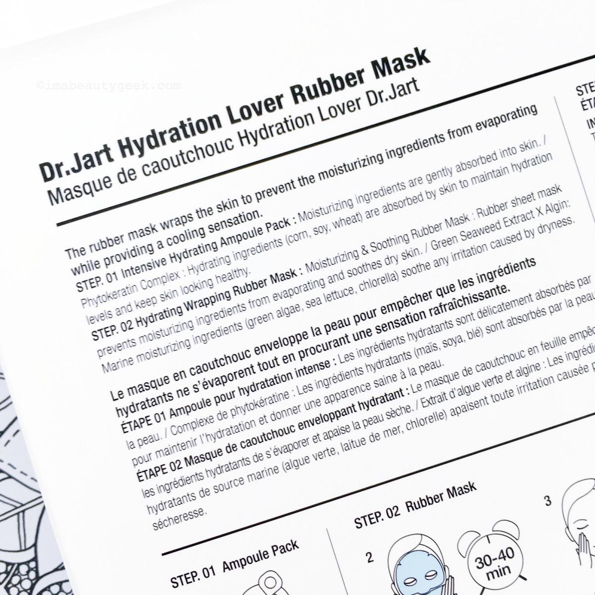 Dr. Jart Hydration Lover Rubber Mask info