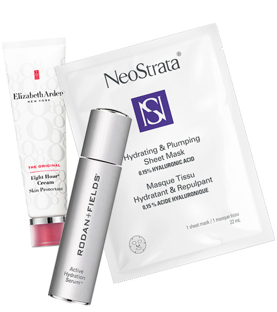 Elizabeth Arden Eight Hour Cream Skin Protectant, Rodan + Fields Active Hydration Serum and Neostrata Hydrating & Plumping 15% Hyaluronic Acid Sheet Mask