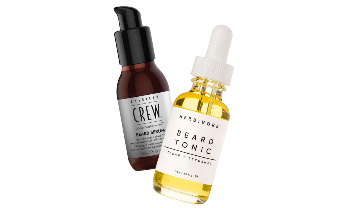 American Crew Beard Serum and Herbivore Cedar + Bergamot Beard Tonic
