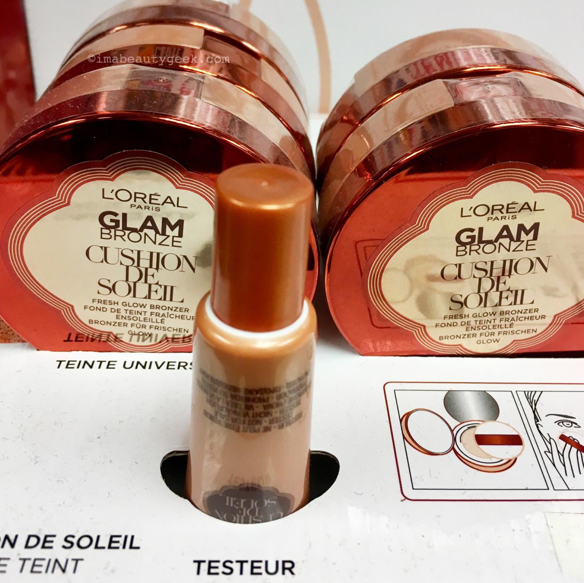 L'Oreal Paris Glam Bronze Cushion de Soleil tester at Monoprix in Paris..
