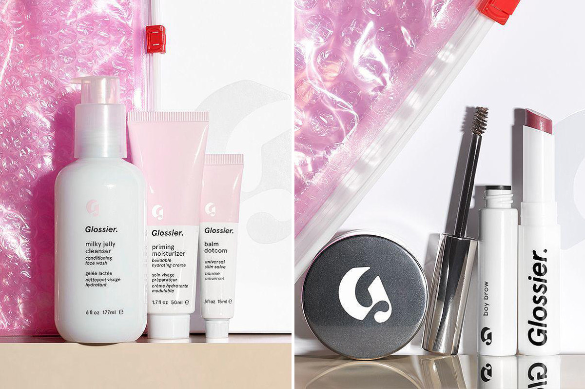 Glossier in Canada: the Phase 1 (skincare) and Phase 2 (makeup) sets