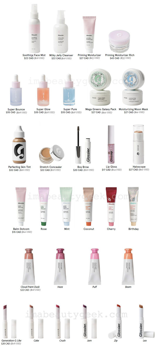 Glossier in Canada: all Canadian pricing