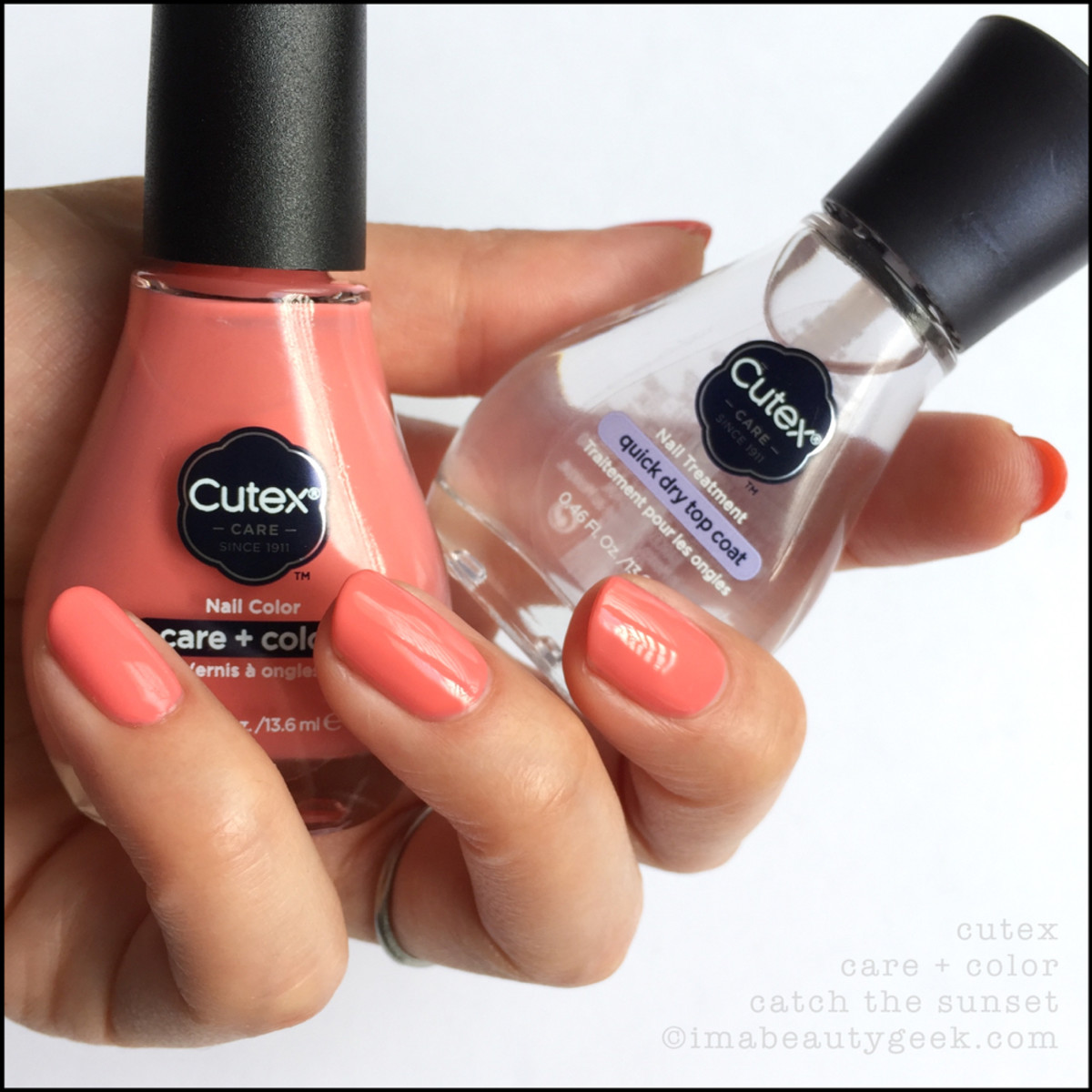Cutex Quick Dry Top Coat over Catch the Sunset - Cutex 2017 Swatches Review