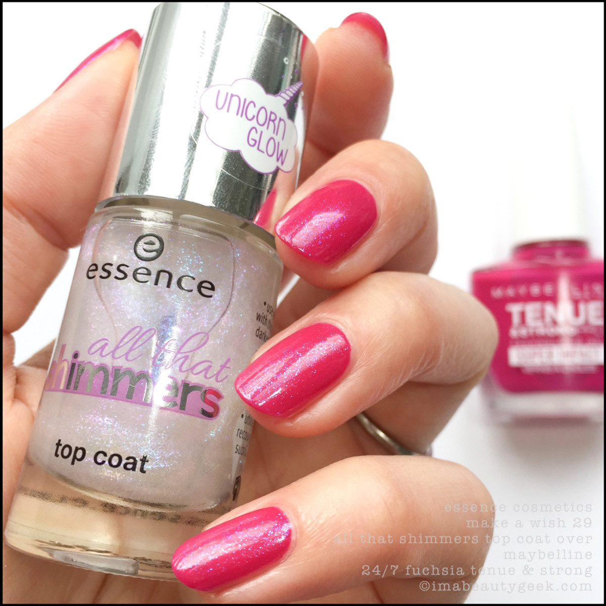 Essence Make a Wish Unicorn Glow over Maybelline 24/7 Fuchsia Tenue and Strong Pro Nail Polish