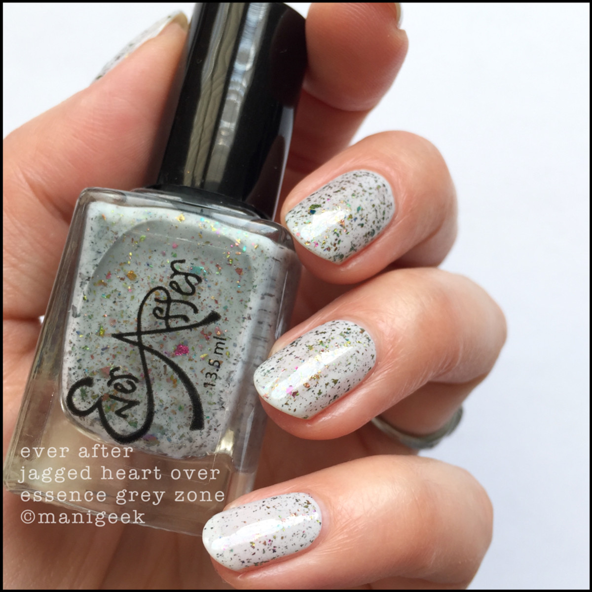 Ever After Jagged Heart over Essence Grey Zone _ 1000 Days of Untried Nail Polish Week 4