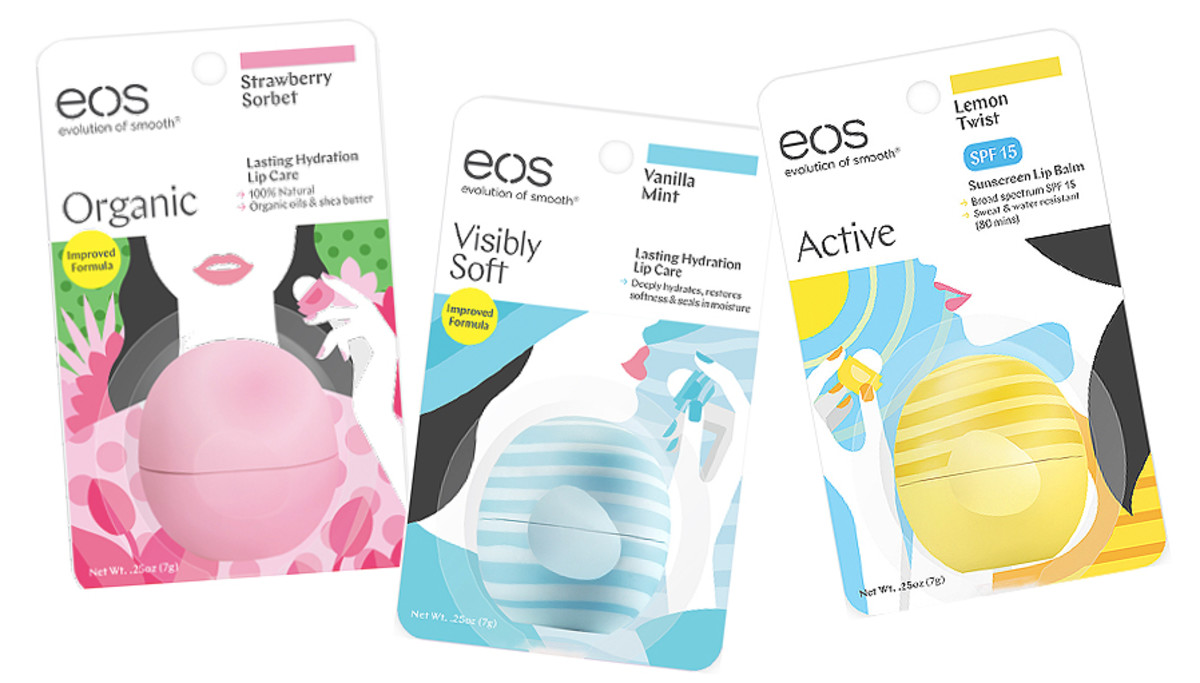 New EOS outer packaging; EOS Active also comes in a Pink Grapefruit SPF 30