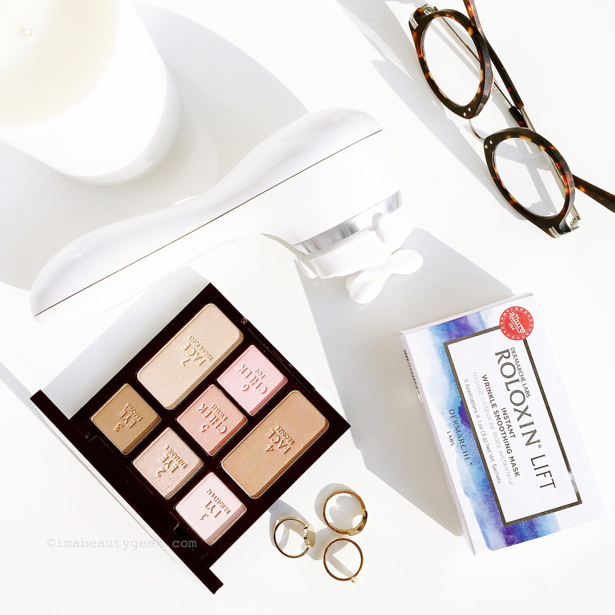 Three beauty items I'd give EVERYONE if I could: Clarisonic Uplift w Facial Massage attachment, Dermarche Labs Roloxin Lift masks and Charlotte Tilbury Natural Beauty palette