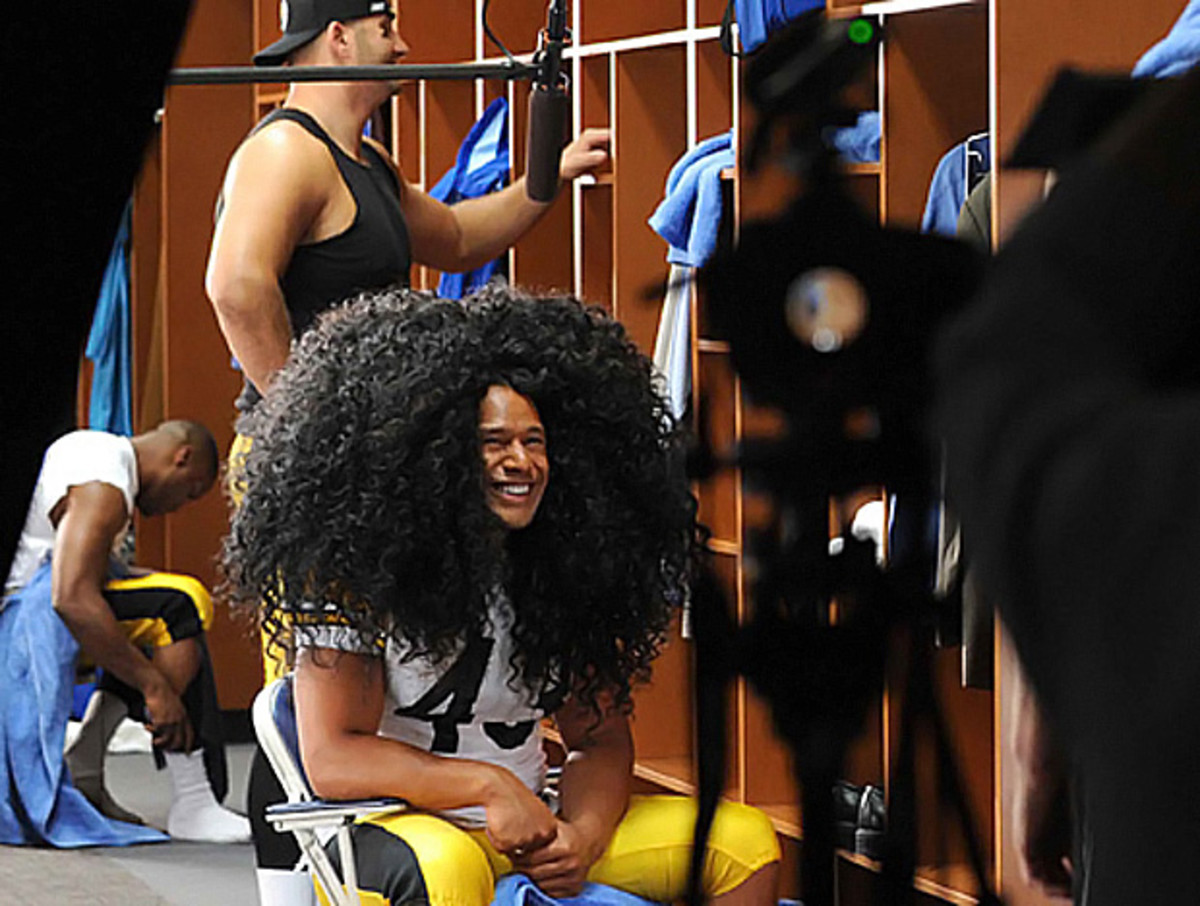 Pittsburgh Steeler Troy Polamalu on set for Head & Shoulders