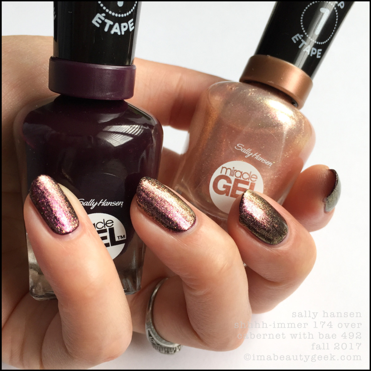 Sally Hansen Shhhhimmer over Cabernet with Bae _ Sally Hansen Miracle Gel Swatches Fall 2017