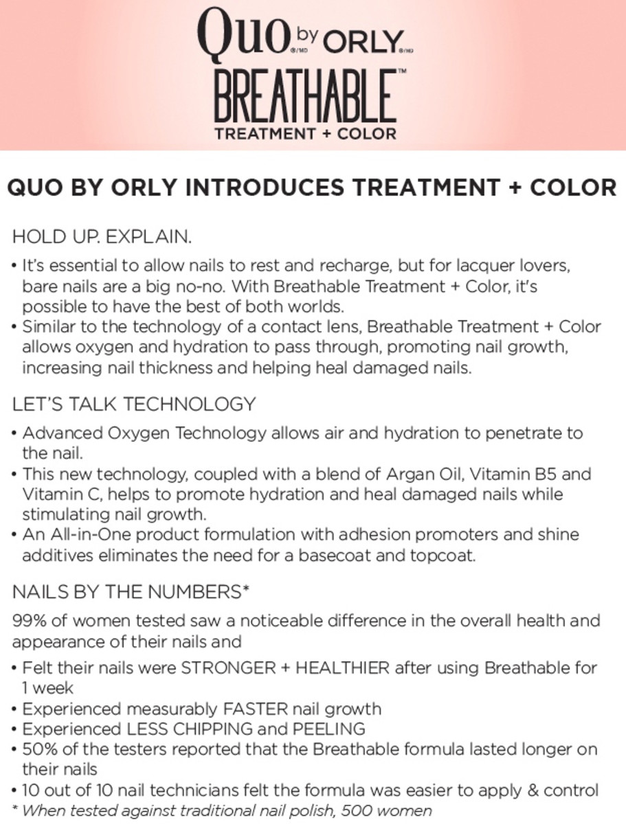Orly Breathable Nail Polish Treatment and Color