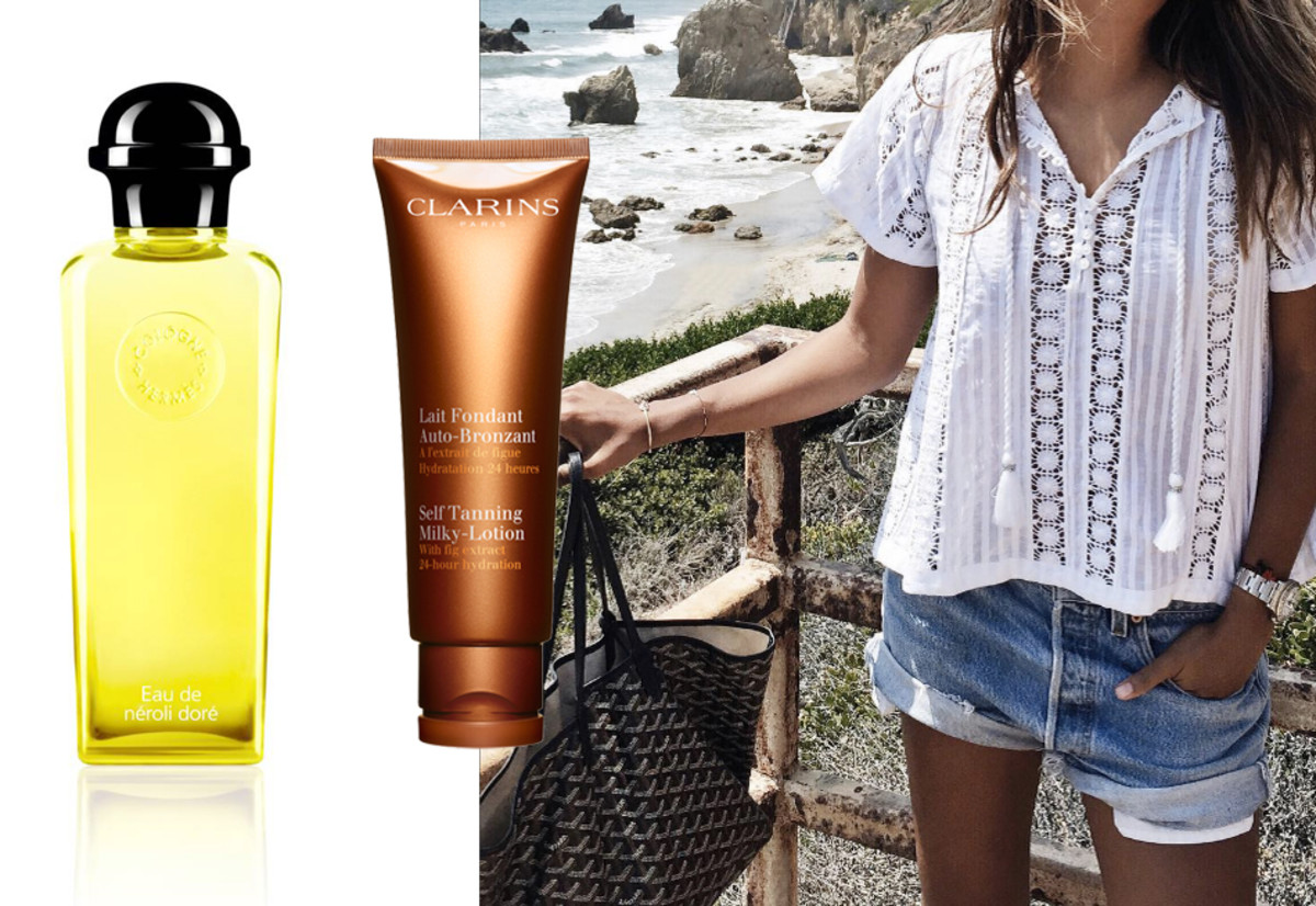 Hermes Eau de Néroli D'Oré, Clarins Self Tanning Milky-Lotion, Levi's and a breezy top