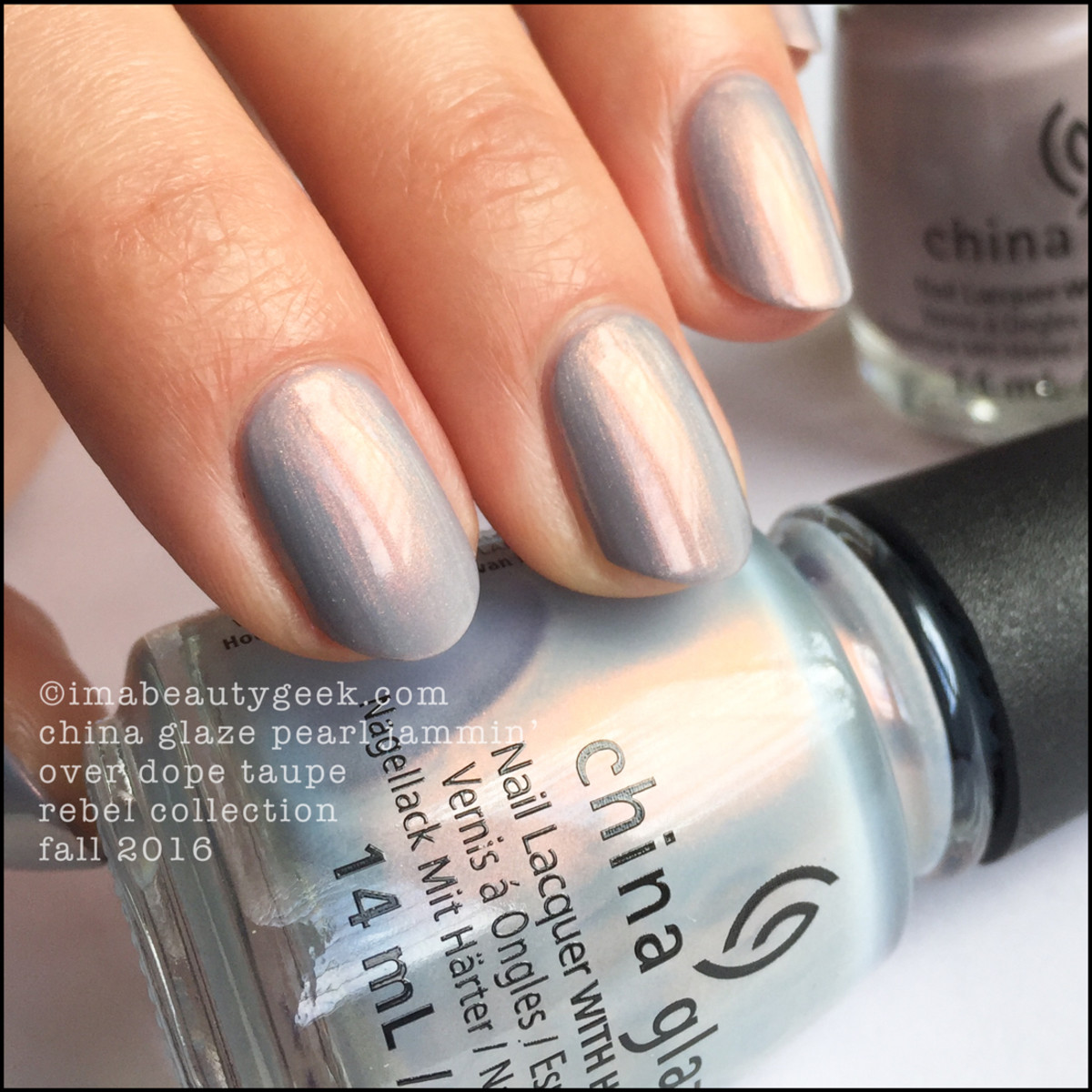 China Glaze Pearl Jammin over Dope Taupe_China Glaze Rebel 2016 Collection Swatches Review