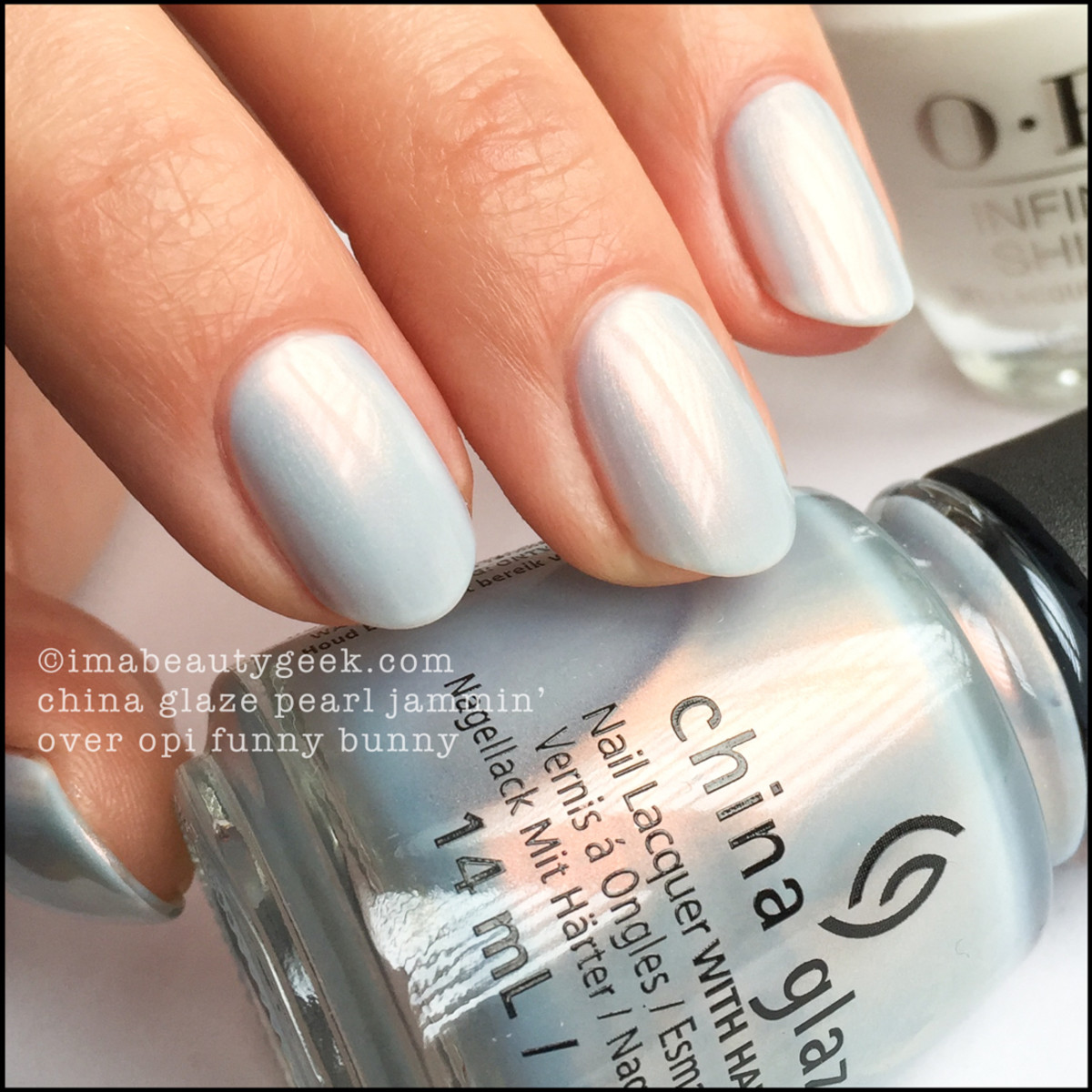 China Glaze Pearl Jammin over White_China Glaze Rebel 2016 Collection Swatches Review