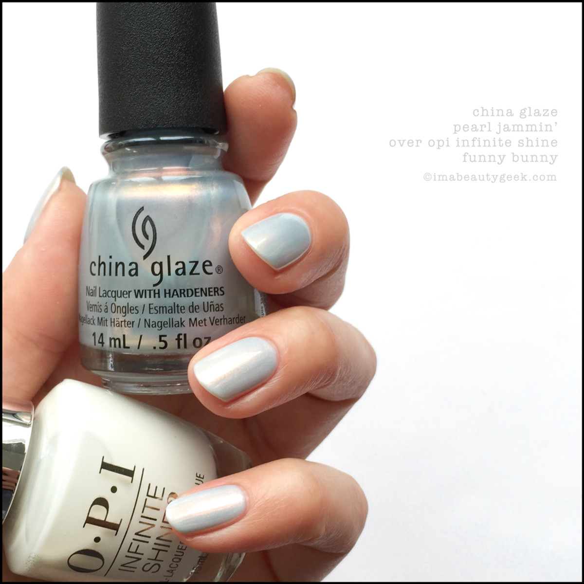 China Glaze Pearl Jammin over OPI IS Funny Bunny_China Glaze Rebel Collection Swatches Review