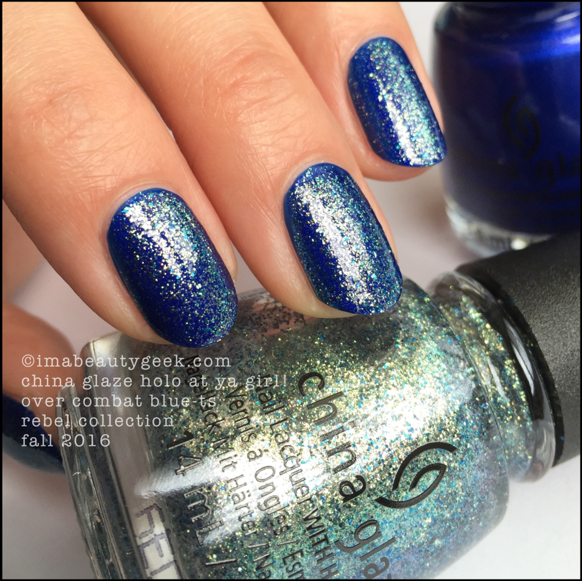 China Glaze Holo at ya girl over Combat Bluets_China Glaze Rebel Collection Swatches Review